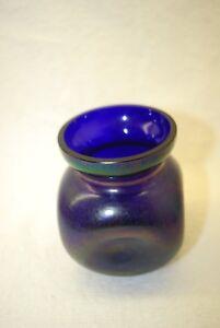 Belle Victorienne Bohême Irisé Bleu Art Nouveau Pinch Vase C1900-afficher Le Titre D'origine Ptcckvrh-08003103-508801353