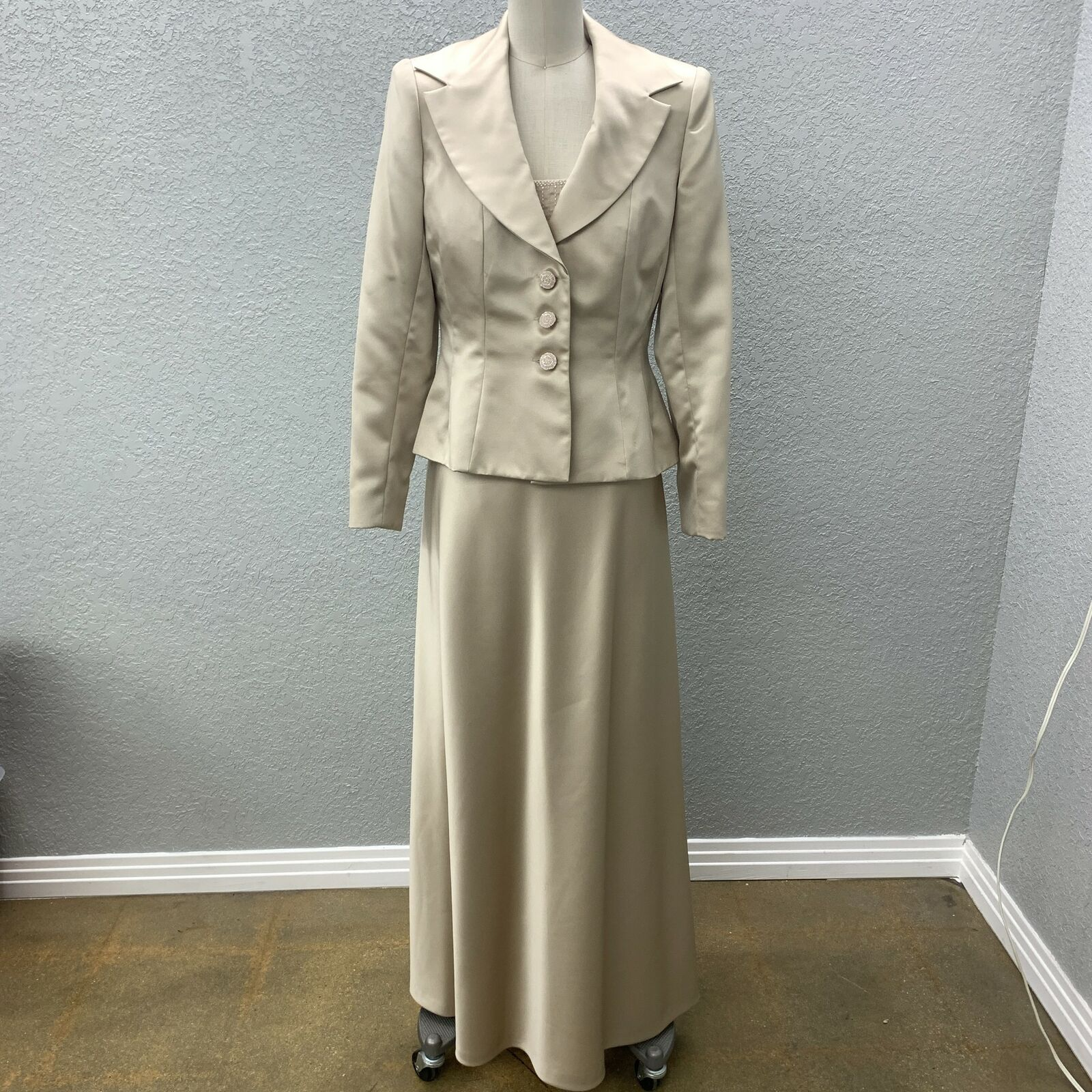 Kay Unger Mother Of the Bride Dress & Blazer Set Sz 10 Champagne Party Cocktail
