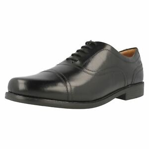 Mens Black Leather Clarks Lace Up Formal Shoes H & G Fitting Beeston Cap