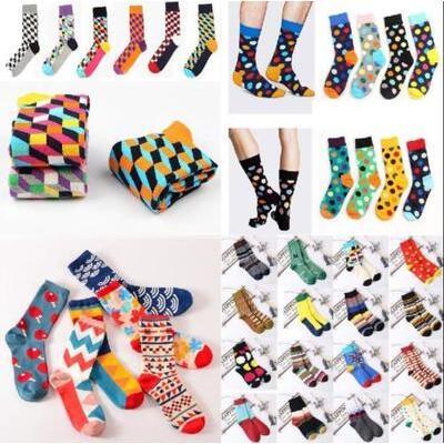 Fashion Mens Cotton Happy Socks Warm Colorful Diamond Casual Dress Socks 9-11 AU