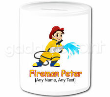Personalised Gift Hero Fire Fighter Fireman Money Box Piggy Bank Kids Present