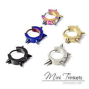 Mens-boys-Hinged-Stainless-Steel-Spiked-Cone-Hoop-Huggie-Punk-Stud-Earrings-Gift