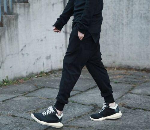 Men Sweatpants Baggy Jogging Drop Crotch Casual Black Loose Fit Pants Trousers