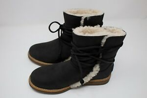 f23eb19f5e7 Details about UGG Black Color Suede leather Fur Ankle Boot Women Shoes Size  6