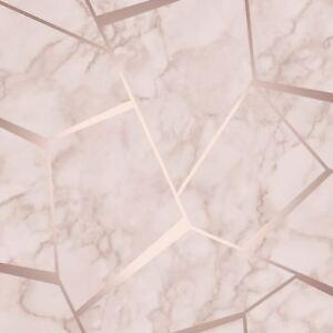 Image Is Loading FRACTAL GEOMETRIC MARBLE WALLPAPER ROSE GOLD PINK FINE