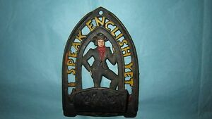 I Speak English Yet... Cast Iron Trivet Match Holder JZH #19 - 1952 Wall Hanger