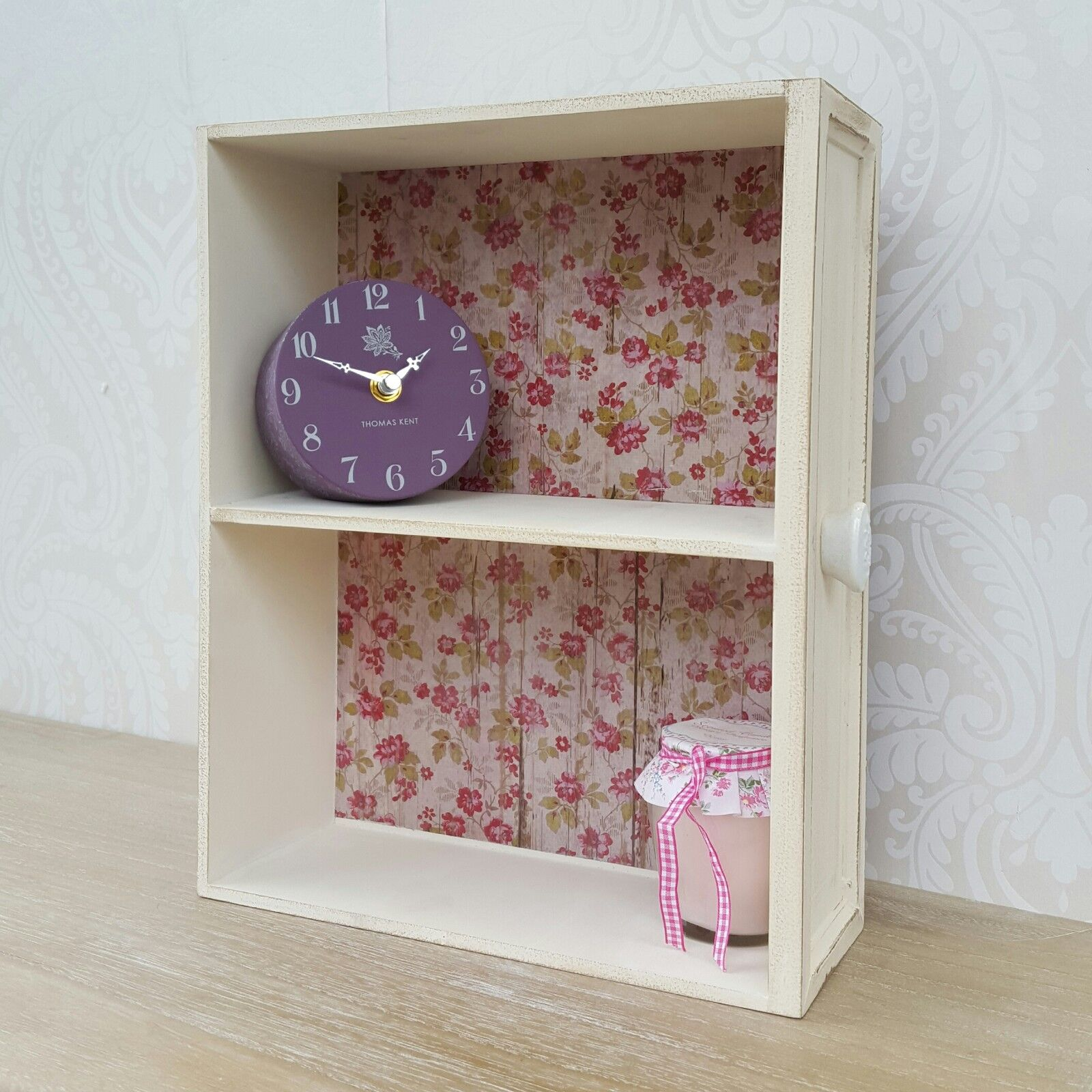 small wooden wall display cabinet shelf unit cream shabby. Black Bedroom Furniture Sets. Home Design Ideas