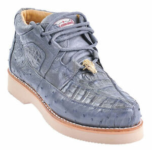 Los-Altos-Genuine-GRAY-Caiman-Crocodile-Ostrich-Casual-Shoes-Lace-Up-D