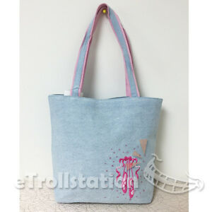 Image is loading Gymnastics-Girls-Denim-Pink-Ballet-Shoe-Embroidered-Tote- ef28b857f5214