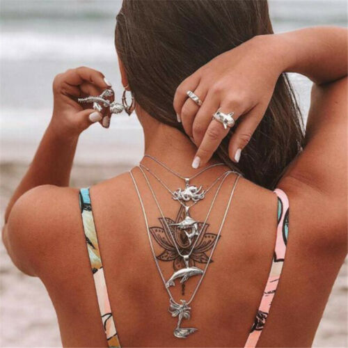Personality Women Fashion Spider Shark Mermaid Pendant Multi Layer Necklace Gift