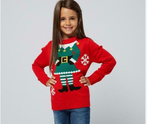 HEAD ON GIRLS ELF CHRISTMAS JUMPER RED AGE 10-11 NOVELTY FUN ELF YOURSELF