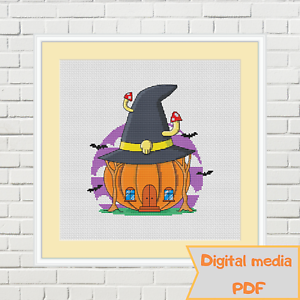 Halloween-pumpkin-witch-little-house-with-fly-agarics-cross-stitch-pattern-PDF