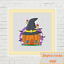Halloween-pumpkin-witch-little-house-with-fly-agarics-cross-stitch-pattern-PDF miniature 1