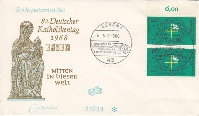 BRD FDC Ersttagsbrief 1968 Katholikentag Essen Mi.568 Paar Stempel Essen