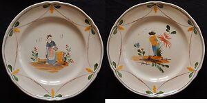 """""""c46"""" : Paire D'assiette (poterie Artisanale Conteporaine) Couple Nouveau Design (En);"""