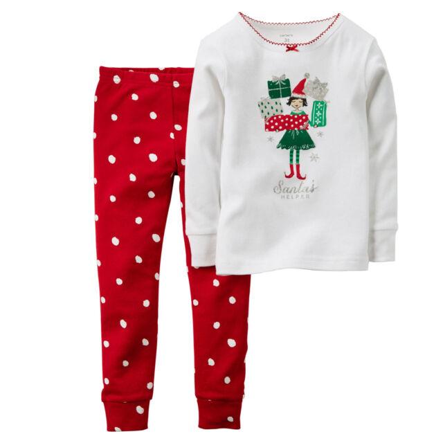 dbcd555af45a92 CARTER S GIRLS 2PC SANTA S HELPER ELF PAJAMAS L S TOP PANTS SET CHRISTMAS  SIZE 4