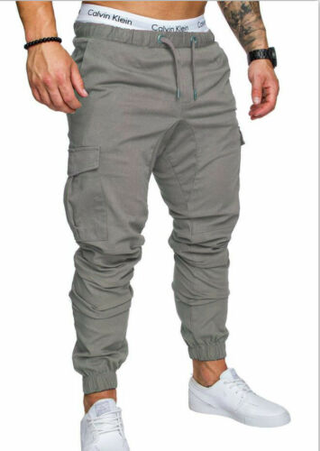 Fashion Mens Cuffed Chinos Jeans Denim Trousers Joggers Combat Military Pants