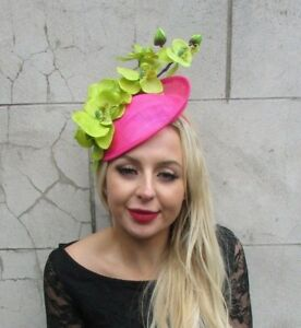 f0bc00b4 Hot Cerise Pink Lime Green Orchid Flower Saucer Disc Hat Fascinator ...