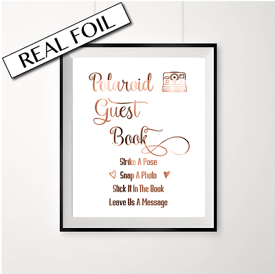 Swirly Polaroid Polaroid guest book sign //// Wedding sign //// Copper foil sign