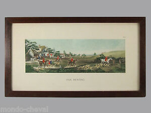 LITHOGRAPHIE-aquarellee-Wolstenholme-ancienne-chevaux-cavaliers-chasse