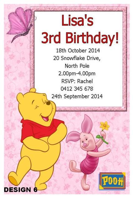 10 X WINNIE POOH PIGLET CHILDRENS PERSONALISED BIRTHDAY INVITATIONS MAGNETS