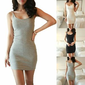 Women-Casual-Cocktail-Party-Evening-Bodycon-Sleeveless-Short-Slim-Fit-Mini-Dress