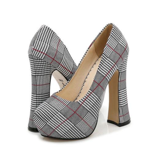 Chunky Heels Check Plaided Platform Pumps Big Size Red Men/'s Crossdresser Shoes