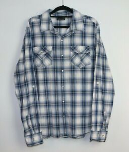 Jeans West Men's Long Sleeve Pearl Snap Button Check Shirt Size L