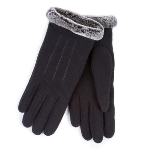 Isotoner Ladies Thermal Glove With Fur Cuff /& Stitching