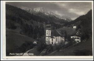 Maria-Gern-Bayern-AK-1935-40-Partie-an-der-Kirche-mit-Untersberg-ungelaufen