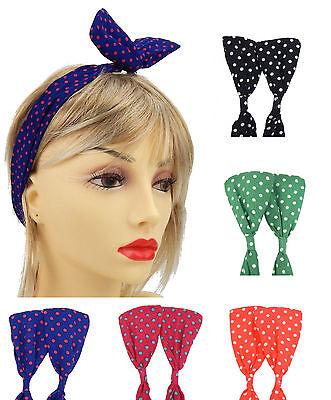 Haarband Rockabilly Punkte schwarz grün blau Haarreif Schleife gepunktet Viskose