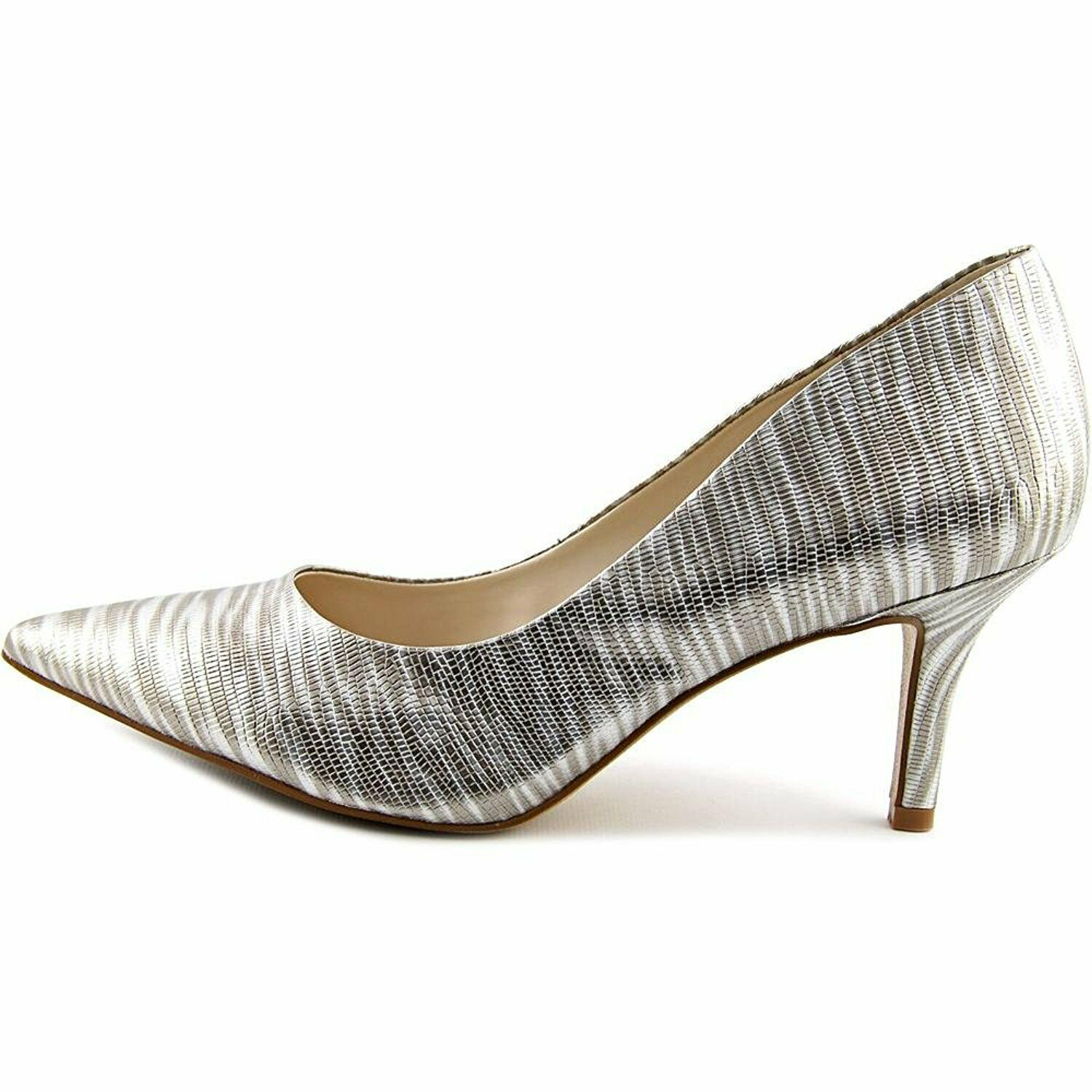 Alfani Womens Jeules Leather Pointed Toe Classic Pumps, Pewter, Size 6.5 YzL3 US