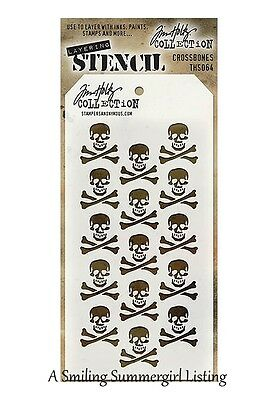 Skull Cross Bones Halloween Stencil Stampers Anonymous Tim Holtz Collection