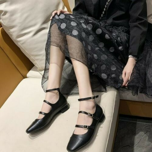 Details about  /Women Low Chunky Heel Pumps Buckle Hollow Out Ankle Strap Sandals Chic Shoes D