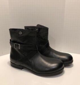 dc031010ce6 NEW BIRKENSTOCK Collins Boot Women s 38 (7.5-8) Leather Black Side ...