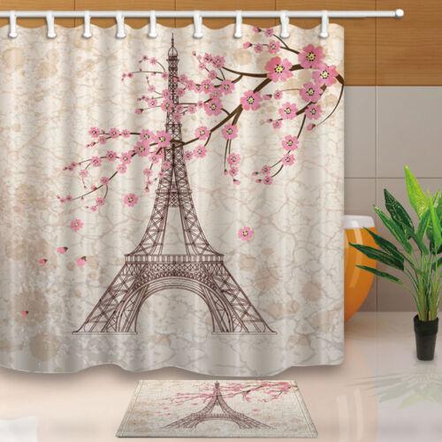 """Cerise et Tour Eiffel Rideau de douche chambre Tissu Imperméable /& 12 Crochet 71*71/"""""""