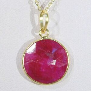 Gold-vermeil-over-sterling-silver-opaque-ruby-faceted-gemstone-pendant-necklace