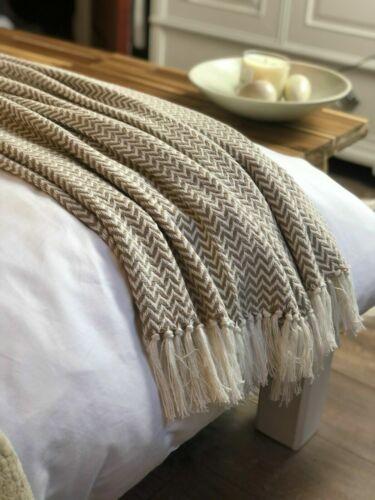 Luxe 100/% coton blanc//beige LINEN Herringbone Tweed Couverture Sofa Jeté De Lit