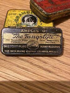 Vintage Gramophone needle tin Nadeldose His master's Voice The Tungstyle HMV #M8
