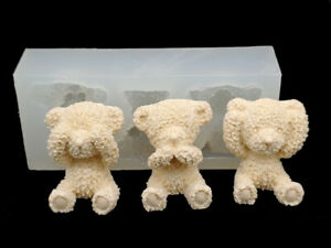 7 Mini Bears Silicone Mold Candle Chocolate Polymer Clay Soap Wax