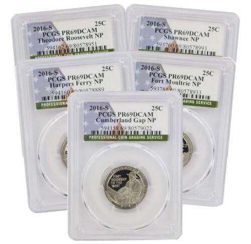 Flag 2017-S Silver Park Quarter Set PR69DCAM PCGS Proof 69 Deep Cameo 5 Coins