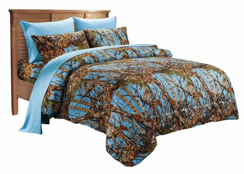 KING SIZE CAMO COMFORTER SHEETS PILLOWCASES AND CURTAINS 12 PC POWDER BLUE!
