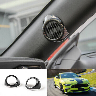 CITALL A pair of carbon fiber style pillars on the door tweeter cover trim Fit For Ford Mustang 2015-2018