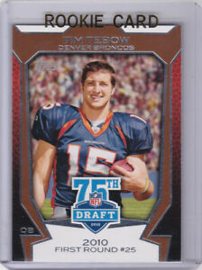 Details About Tim Tebow Rookie Card Denver Broncos 2010 Topps Nfl Draft Pick Football Rc