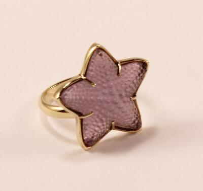 Fine Rings Diamond Lalique Purpl Frosted Crystal Starfish Gold Plated Mounting Ring Sz 6.5/t54/uk-n