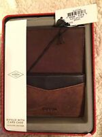 Men's Fossil Genuine Leather Brown Austin Bifold With Card Case In Tin