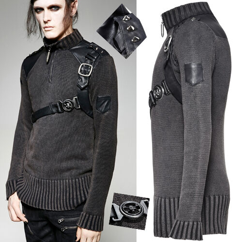 Pull haut gothique punk steampunk militaire sangle cuir rouage clous Punkrave