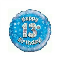 Happy 17th Birthday Blue Holographic 18 Inch Foil Balloon