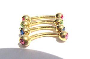 Details About 4 Pc Gold Titanium Curved Barbells Crystal Balls Clitoral Hood Vch Hch 16 Gauge