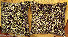 "Leopard Animal Print Throw Pillow LOT Brown Beige Fleece Type Fabric 18"" Square"